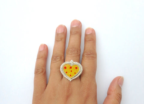 Ethereal, glass-top enamel work heart shape ring  Ring Sterling silver handcrafted jewellery. 925 pure silver jewellery. Earrings, nose pins, rings, necklaces, cufflinks, pendants, jhumkas, gold plated, bidri, gemstone jewellery. Handmade in India, fair trade, artisan jewellery.