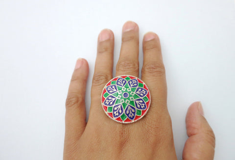 Stunning statement enamel work round Himachali ring (PB-9396-R)  Ring Sterling silver handcrafted jewellery. 925 pure silver jewellery. Earrings, nose pins, rings, necklaces, cufflinks, pendants, jhumkas, gold plated, bidri, gemstone jewellery. Handmade in India, fair trade, artisan jewellery.