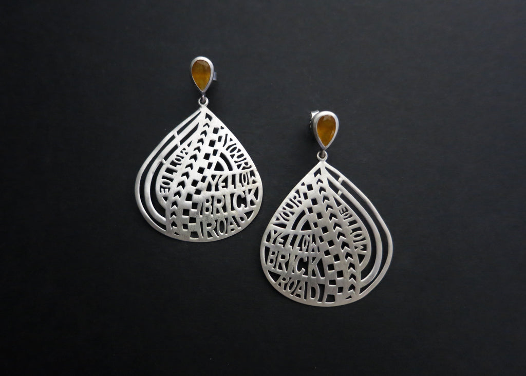 Follow Your Yellow Brick Road (PB-1337-ER)  Earrings Sterling silver handcrafted jewellery. 925 pure silver jewellery. Earrings, nose pins, rings, necklaces, cufflinks, pendants, jhumkas, gold plated, bidri, gemstone jewellery. Handmade in India, fair trade, artisan jewellery.