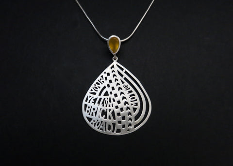 Follow Your Yellow Brick Road [Pendant] (PB-9714-P)  Necklace, Pendant Sterling silver handcrafted jewellery. 925 pure silver jewellery. Earrings, nose pins, rings, necklaces, cufflinks, pendants, jhumkas, gold plated, bidri, gemstone jewellery. Handmade in India, fair trade, artisan jewellery.