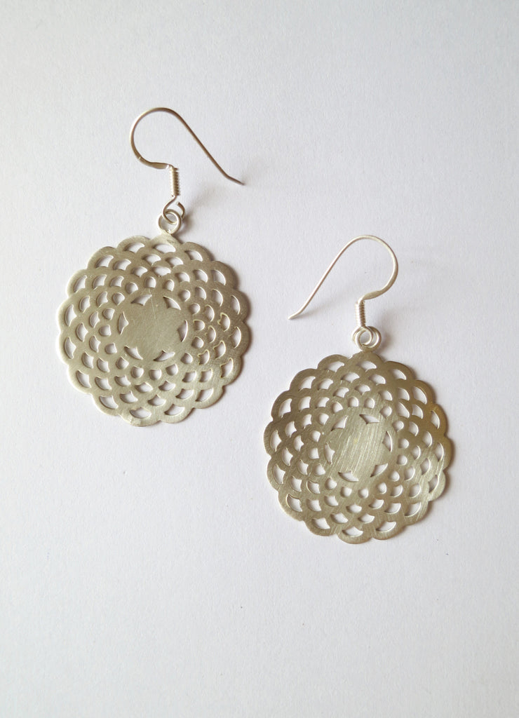 Elegant simple scallop cut out earrings in satin polish (HE1-1328)  Earrings Sterling silver handcrafted jewellery. 925 pure silver jewellery. Earrings, nose pins, rings, necklaces, cufflinks, pendants, jhumkas, gold plated, bidri, gemstone jewellery. Handmade in India, fair trade, artisan jewellery.