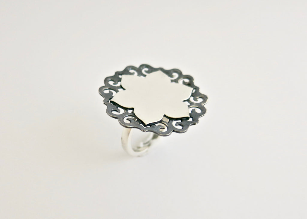 Ethereal, two-tone, lotus statement ring (PB-10975-R)  Ring Lai designer sterling silver 925 jewelry that is global culture inspired artisanal handcrafted handmade contemporary sustainable conscious fair trade online brand shop