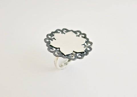 Ethereal, two-tone, lotus statement ring