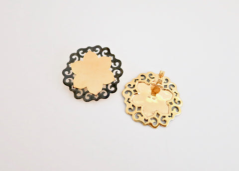 Dramatic, gold-plated, two-tone lotus studs [PB-11086-ER (G)]  Earrings Sterling silver handcrafted jewellery. 925 pure silver jewellery. Earrings, nose pins, rings, necklaces, cufflinks, pendants, jhumkas, gold plated, bidri, gemstone jewellery. Handmade in India, fair trade, artisan jewellery.