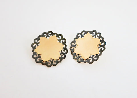 Dramatic, gold-plated, two-tone lotus studs [PB-11086-ER (G)]