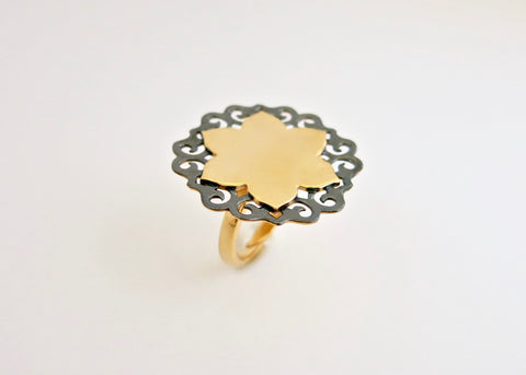 Lush, gold plated, two-tone lotus statement ring [PB-10975-R (G)]  Ring Sterling silver handcrafted jewellery. 925 pure silver jewellery. Earrings, nose pins, rings, necklaces, cufflinks, pendants, jhumkas, gold plated, bidri, gemstone jewellery. Handmade in India, fair trade, artisan jewellery.