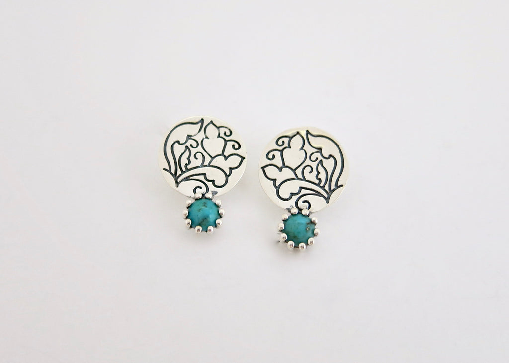 Classic 'Moti Bazaar' turquoise ear studs (PB-11073-ER)  Earrings Lai designer sterling silver 925 jewelry that is global culture inspired artisanal handcrafted handmade contemporary sustainable conscious fair trade online brand shop