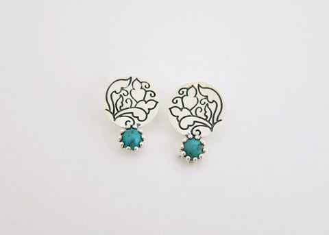 Classic 'Moti Bazaar' turquoise ear studs (PB-11073-ER)  Earrings Sterling silver handcrafted jewellery. 925 pure silver jewellery. Earrings, nose pins, rings, necklaces, cufflinks, pendants, jhumkas, gold plated, bidri, gemstone jewellery. Handmade in India, fair trade, artisan jewellery.