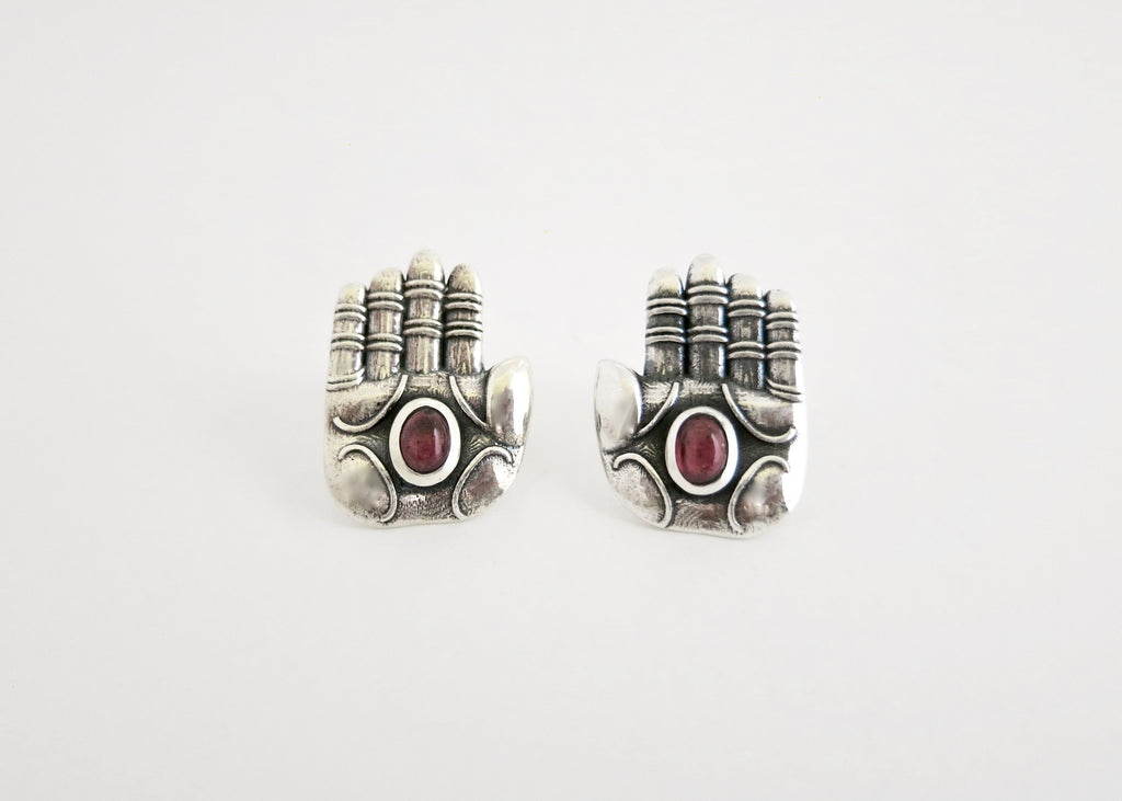'Divine blessing' ear studs with garnet (PB-11081-ER)  Earrings Lai designer sterling silver 925 jewelry that is global culture inspired artisanal handcrafted handmade contemporary sustainable conscious fair trade online brand shop