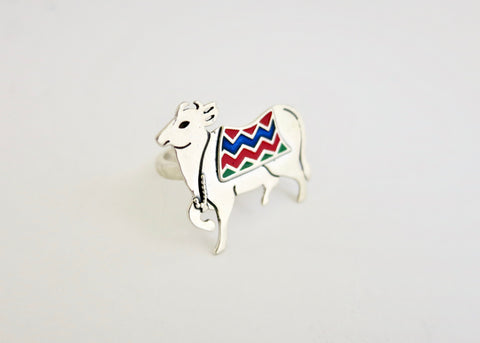 Stunning, enamel 'gau' (cow) statement ring (PB-10974-R)