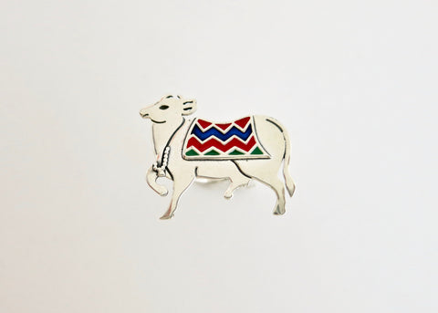 Stunning, enamel 'gau' (cow) statement ring (PB-10974-R)  Ring Sterling silver handcrafted jewellery. 925 pure silver jewellery. Earrings, nose pins, rings, necklaces, cufflinks, pendants, jhumkas, gold plated, bidri, gemstone jewellery. Handmade in India, fair trade, artisan jewellery.