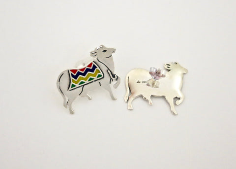 Dramatic 'Gau' (cow) studs (PB-11090-ER)  Earrings Sterling silver handcrafted jewellery. 925 pure silver jewellery. Earrings, nose pins, rings, necklaces, cufflinks, pendants, jhumkas, gold plated, bidri, gemstone jewellery. Handmade in India, fair trade, artisan jewellery.