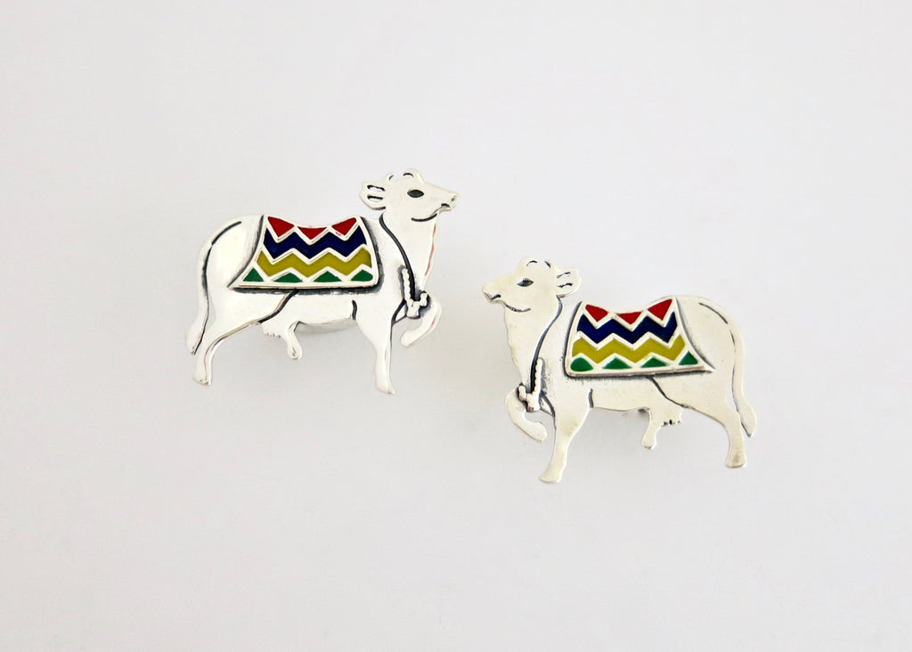 Dramatic 'Gau' (cow) studs (PB-11090-ER)  Earrings Lai designer sterling silver 925 jewelry that is global culture inspired artisanal handcrafted handmade contemporary sustainable conscious fair trade online brand shop