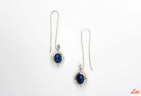 Ethereal long hook lapis and pearl earrings (PB-9823-ER)  Earrings Sterling silver handcrafted jewellery. 925 pure silver jewellery. Earrings, nose pins, rings, necklaces, cufflinks, pendants, jhumkas, gold plated, bidri, gemstone jewellery. Handmade in India, fair trade, artisan jewellery.
