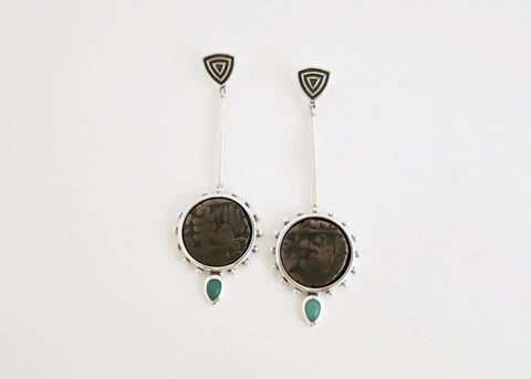 Conversation starting, long, Mughal 'asharfi' earrings (PB-11109-ER)