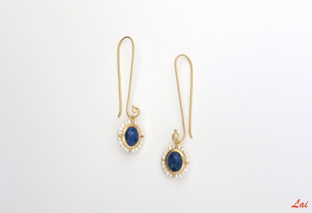 Ethereal long hook lapis and pearl earrings (PB-9823-ER) - Lai - 3
