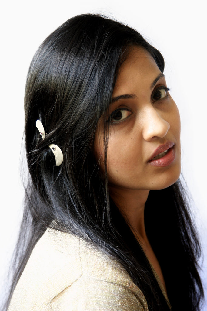Chic crescent shape hair clip, accented with garnet  Hair ornament Sterling silver handcrafted jewellery. 925 pure silver jewellery. Earrings, nose pins, rings, necklaces, cufflinks, pendants, jhumkas, gold plated, bidri, gemstone jewellery. Handmade in India, fair trade, artisan jewellery.