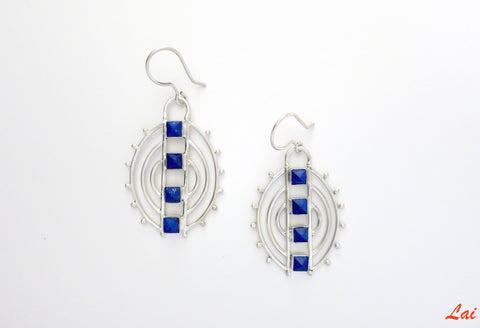 Contemporary chic pyramidical lapis earrings (PB-2912-ER)  Earrings Sterling silver handcrafted jewellery. 925 pure silver jewellery. Earrings, nose pins, rings, necklaces, cufflinks, pendants, jhumkas, gold plated, bidri, gemstone jewellery. Handmade in India, fair trade, artisan jewellery.