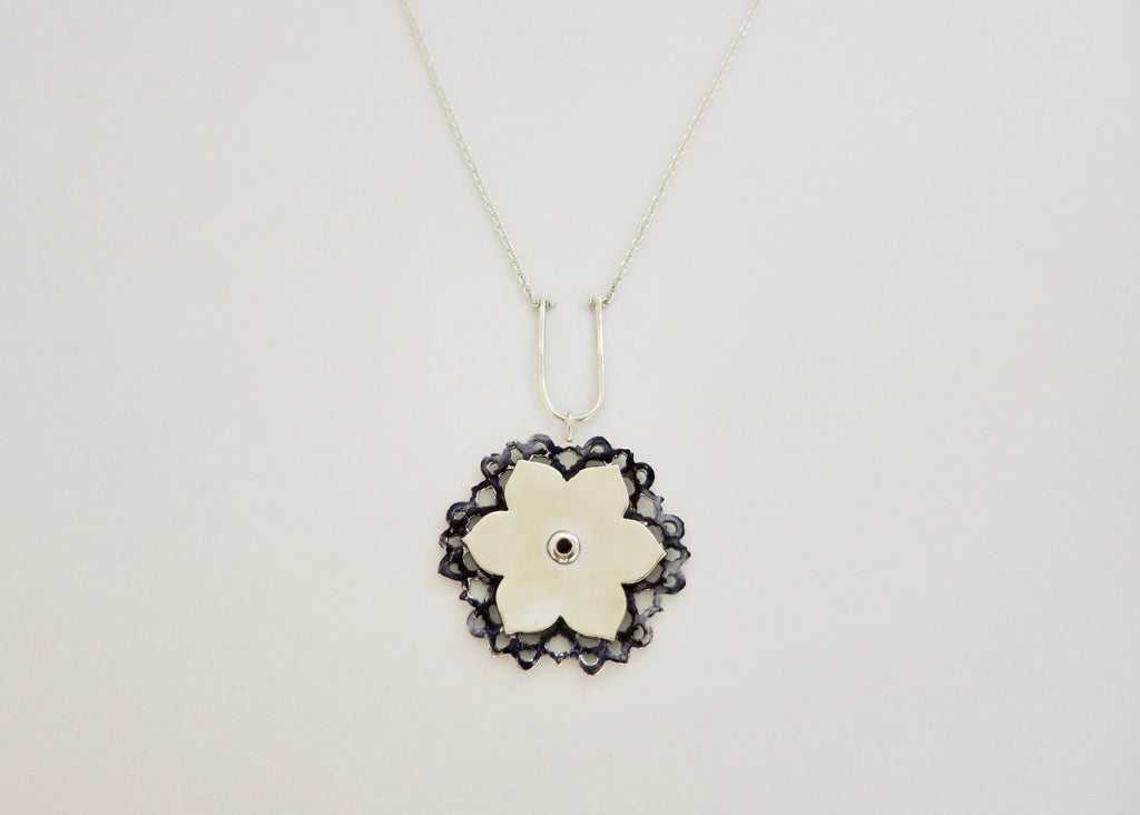 Stunning, dual-tone, Mughal lotus necklace (PB-2629-N)  Necklace, Pendant Sterling silver handcrafted jewellery. 925 pure silver jewellery. Earrings, nose pins, rings, necklaces, cufflinks, pendants, jhumkas, gold plated, bidri, gemstone jewellery. Handmade in India, fair trade, artisan jewellery.