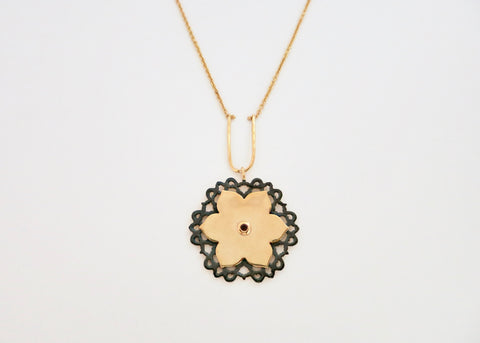 Magnificent, gold plated, dual-tone, Mughal lotus necklace [PB-2629-N (G)]