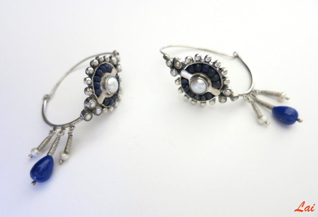 Exquisite neo tribal lapis and pearls oblong hoops (PB-2921-ER)  Earrings Lai designer sterling silver 925 jewelry that is global culture inspired artisanal handcrafted handmade contemporary sustainable conscious fair trade online brand shop