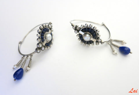 Exquisite neo tribal lapis and pearls oblong hoops (PB-2921-ER)  Earrings Sterling silver handcrafted jewellery. 925 pure silver jewellery. Earrings, nose pins, rings, necklaces, cufflinks, pendants, jhumkas, gold plated, bidri, gemstone jewellery. Handmade in India, fair trade, artisan jewellery.
