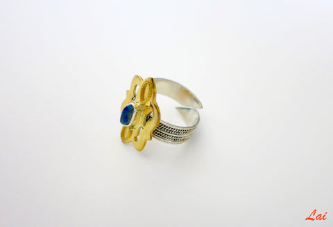Central Asian tribal inspired 2 tone lapis ring (PB-1624-R)  Ring Sterling silver handcrafted jewellery. 925 pure silver jewellery. Earrings, nose pins, rings, necklaces, cufflinks, pendants, jhumkas, gold plated, bidri, gemstone jewellery. Handmade in India, fair trade, artisan jewellery.
