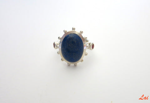Classic cabochon Lapis ring with coral detailing (PB-9494-R)  Ring Sterling silver handcrafted jewellery. 925 pure silver jewellery. Earrings, nose pins, rings, necklaces, cufflinks, pendants, jhumkas, gold plated, bidri, gemstone jewellery. Handmade in India, fair trade, artisan jewellery.