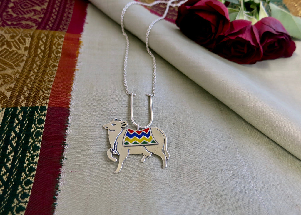 Gorgeous, enamel 'gau' (cow) necklace (PB-2609-N)  Necklace, Pendant Sterling silver handcrafted jewellery. 925 pure silver jewellery. Earrings, nose pins, rings, necklaces, cufflinks, pendants, jhumkas, gold plated, bidri, gemstone jewellery. Handmade in India, fair trade, artisan jewellery.