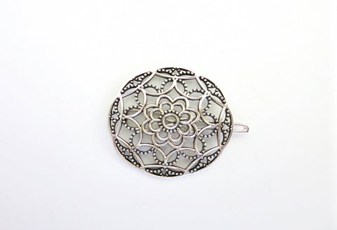Exquisite, circular, jali work hair clip  Hair ornament Sterling silver handcrafted jewellery. 925 pure silver jewellery. Earrings, nose pins, rings, necklaces, cufflinks, pendants, jhumkas, gold plated, bidri, gemstone jewellery. Handmade in India, fair trade, artisan jewellery.