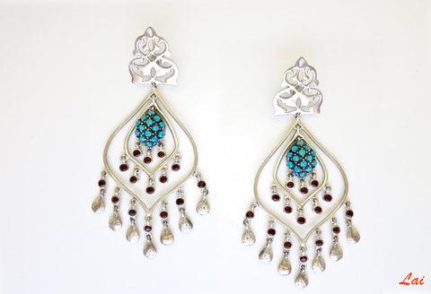 Majestic, turquoise and garnet chandelier earrings  Earrings Sterling silver handcrafted jewellery. 925 pure silver jewellery. Earrings, nose pins, rings, necklaces, cufflinks, pendants, jhumkas, gold plated, bidri, gemstone jewellery. Handmade in India, fair trade, artisan jewellery.