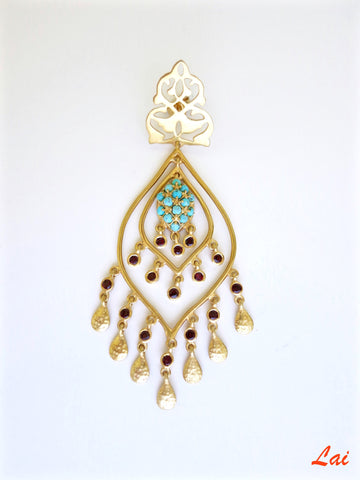 Gold plated turquoise chandelier earrings [PB-9848-ER (G)]  Earrings Sterling silver handcrafted jewellery. 925 pure silver jewellery. Earrings, nose pins, rings, necklaces, cufflinks, pendants, jhumkas, gold plated, bidri, gemstone jewellery. Handmade in India, fair trade, artisan jewellery.