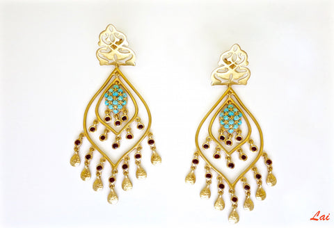 Statement, gold-plated, turquoise and garnet chandelier earrings  Earrings Sterling silver handcrafted jewellery. 925 pure silver jewellery. Earrings, nose pins, rings, necklaces, cufflinks, pendants, jhumkas, gold plated, bidri, gemstone jewellery. Handmade in India, fair trade, artisan jewellery.