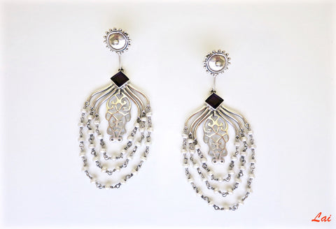 Chic, draping pearls chandelier earrings  Earrings Sterling silver handcrafted jewellery. 925 pure silver jewellery. Earrings, nose pins, rings, necklaces, cufflinks, pendants, jhumkas, gold plated, bidri, gemstone jewellery. Handmade in India, fair trade, artisan jewellery.