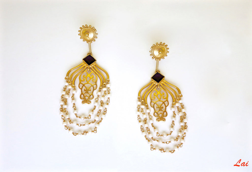Gold-plated, draping pearls chandelier earrings  Earrings Sterling silver handcrafted jewellery. 925 pure silver jewellery. Earrings, nose pins, rings, necklaces, cufflinks, pendants, jhumkas, gold plated, bidri, gemstone jewellery. Handmade in India, fair trade, artisan jewellery.