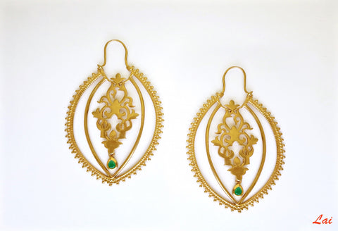 Stunning, gold-plated, navette hoops