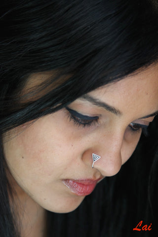 Dainty chic triangle nose pin (PB-002-NP)  Nose pin Sterling silver handcrafted jewellery. 925 pure silver jewellery. Earrings, nose pins, rings, necklaces, cufflinks, pendants, jhumkas, gold plated, bidri, gemstone jewellery. Handmade in India, fair trade, artisan jewellery.