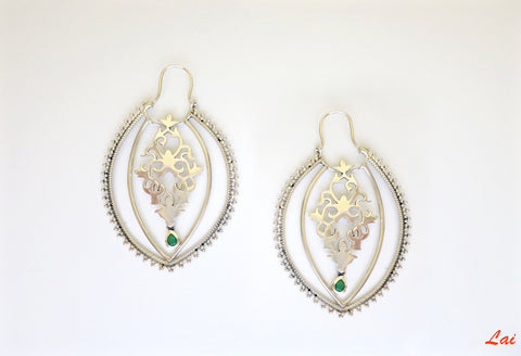 Dramatic arabesque profile hoops (PB-9854-ER)  Earrings Sterling silver handcrafted jewellery. 925 pure silver jewellery. Earrings, nose pins, rings, necklaces, cufflinks, pendants, jhumkas, gold plated, bidri, gemstone jewellery. Handmade in India, fair trade, artisan jewellery.