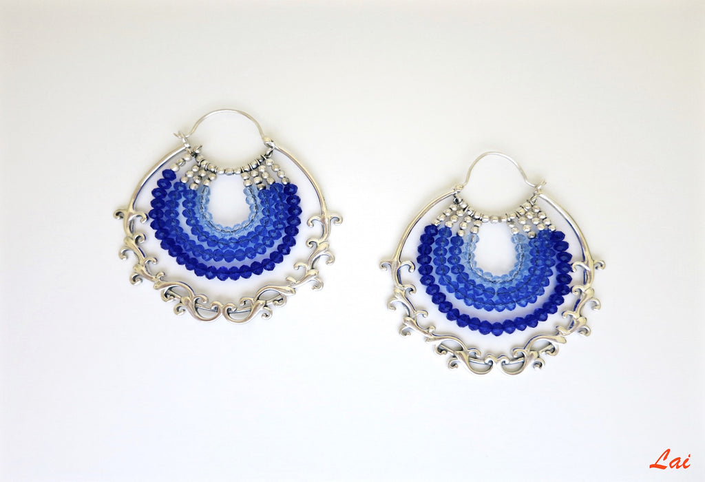 Glamorous blue ombre' arabesque detailing hoops (PB-9856-ER)  Earrings Lai designer sterling silver 925 jewelry that is global culture inspired artisanal handcrafted handmade contemporary sustainable conscious fair trade online brand shop
