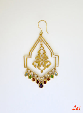 Geometric, gold-plated, chandelier earrings with gemstones  Earrings Sterling silver handcrafted jewellery. 925 pure silver jewellery. Earrings, nose pins, rings, necklaces, cufflinks, pendants, jhumkas, gold plated, bidri, gemstone jewellery. Handmade in India, fair trade, artisan jewellery.