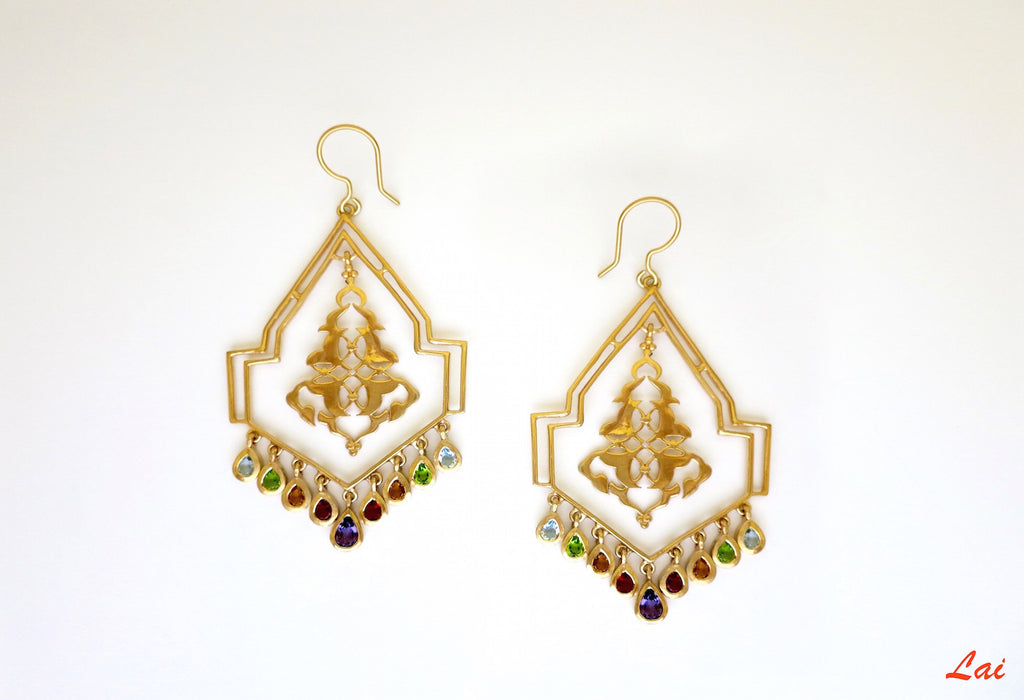 Gold plated geometric chandelier earrings with gemstones [PB-9852-ER (G)]  Earrings Sterling silver handcrafted jewellery. 925 pure silver jewellery. Earrings, nose pins, rings, necklaces, cufflinks, pendants, jhumkas, gold plated, bidri, gemstone jewellery. Handmade in India, fair trade, artisan jewellery.