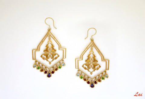 Gold plated geometric chandelier earrings with gemstones [PB-9852-ER (G)]