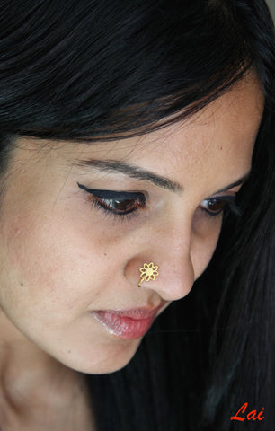 Gold plated minimalist floral cut out nose pin (PB-015-NP)  Nose pin Sterling silver handcrafted jewellery. 925 pure silver jewellery. Earrings, nose pins, rings, necklaces, cufflinks, pendants, jhumkas, gold plated, bidri, gemstone jewellery. Handmade in India, fair trade, artisan jewellery.