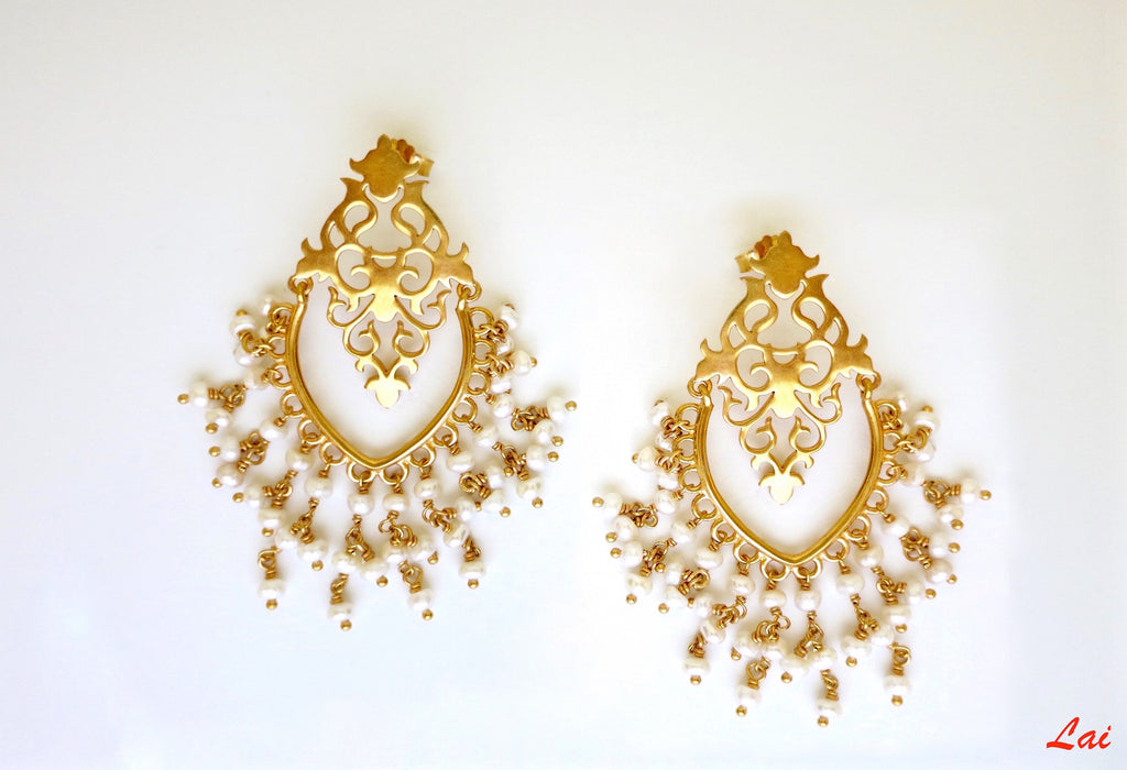 Gold plated pearl fringed chandelier earrings [PB-9850-ER (G)]  Earrings Sterling silver handcrafted jewellery. 925 pure silver jewellery. Earrings, nose pins, rings, necklaces, cufflinks, pendants, jhumkas, gold plated, bidri, gemstone jewellery. Handmade in India, fair trade, artisan jewellery.