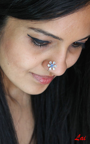 Not-shy, floral nose pin with a square blue stone  Nose pin Sterling silver handcrafted jewellery. 925 pure silver jewellery. Earrings, nose pins, rings, necklaces, cufflinks, pendants, jhumkas, gold plated, bidri, gemstone jewellery. Handmade in India, fair trade, artisan jewellery.