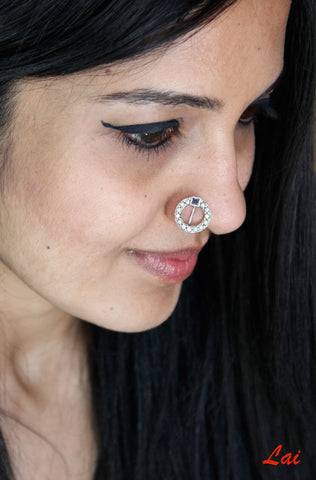 Stunning pearl encrusted circular nose pin (PB-016-NP)  Nose pin Sterling silver handcrafted jewellery. 925 pure silver jewellery. Earrings, nose pins, rings, necklaces, cufflinks, pendants, jhumkas, gold plated, bidri, gemstone jewellery. Handmade in India, fair trade, artisan jewellery.