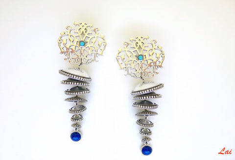 Exquisite 7 tiered arabesque jhumkas (PB-9857-ER)  Earrings Sterling silver handcrafted jewellery. 925 pure silver jewellery. Earrings, nose pins, rings, necklaces, cufflinks, pendants, jhumkas, gold plated, bidri, gemstone jewellery. Handmade in India, fair trade, artisan jewellery.