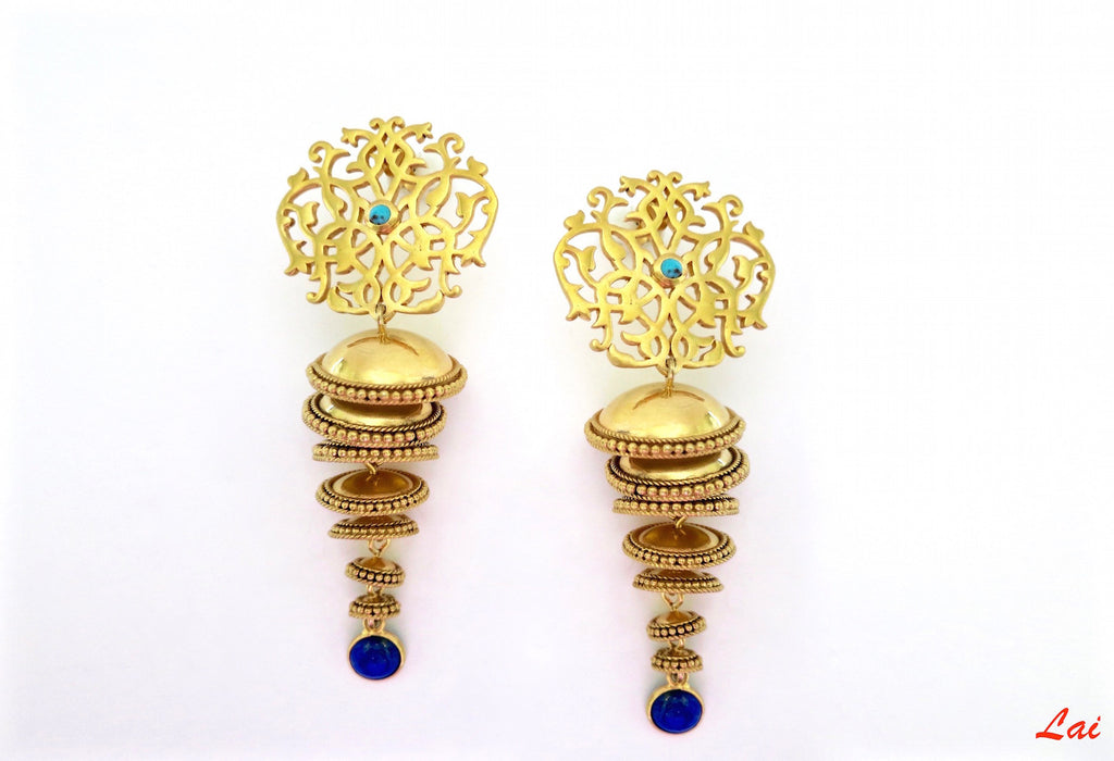 Conversation-starting, 7-tiered, gold-plated, arabesque jhumkas  Earrings Sterling silver handcrafted jewellery. 925 pure silver jewellery. Earrings, nose pins, rings, necklaces, cufflinks, pendants, jhumkas, gold plated, bidri, gemstone jewellery. Handmade in India, fair trade, artisan jewellery.
