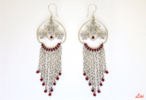Magnificent, regal, cascading chains chandelier earrings  Earrings Sterling silver handcrafted jewellery. 925 pure silver jewellery. Earrings, nose pins, rings, necklaces, cufflinks, pendants, jhumkas, gold plated, bidri, gemstone jewellery. Handmade in India, fair trade, artisan jewellery.