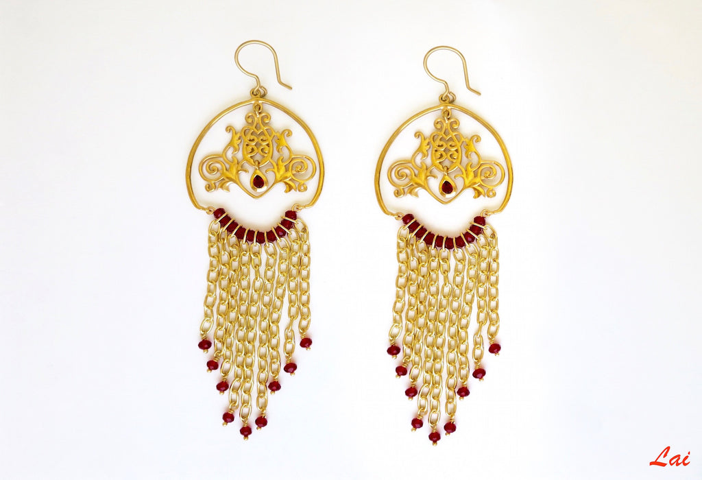 Gold plated long cascading chains earrings [PB-9851-ER (G)] - Lai - 1